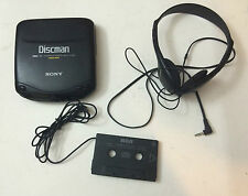 Used SONY Discman D-132CK MegaBass CD Compact Player Headphones RCA tape adapter