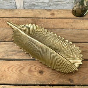 Vintage Metal Gold Feather Jewellery Trinket Dish Decorative Plate Tray Gift Art
