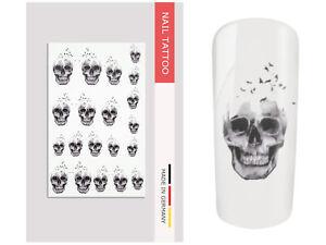 NailArt Nagel Wasser Tattoo Wrap Totenkopf Vogel Sticker Finger Aufkleber Design