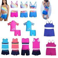 Kids Girls Tankini Swimsuit Swimwear Bathing Swimming Sports Outfit Costume Suit