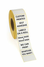 500 Printed Self Adhesive Labels Personalised Customised ** Print Any Text **