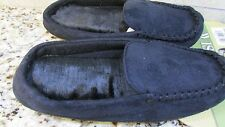NEW ISOTONER BLACK FUR LINED SLIPPERS WOMENS M 6.5-7.5  MOCCASIN FREE SHIP