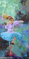 "Little Girl Dancing ""Tapping Toe"", Original Acrylic Painting, Artist Signed"