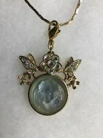"""Kirks Folly Dream Angel Cameo Floral Crystal Necklace Charm Pendant 19"""" Chain"""