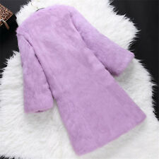 Girl Real Rabbit Fur Furry Long Sleeves Long Coat Solid Outwear Jacket