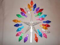 Vintage Ceramic Christmas Tree lights, Bulbs,  Lg  Clear Star w 25 Med Twists