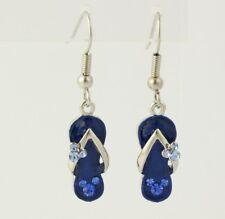 New Disney Butterfly Flip Flop Earrings - Dangle Pierced Blue Crystal Enamel