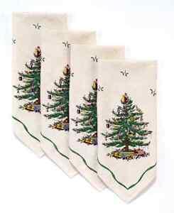 "NEW SET OF 4 SPODE CHRISTMAS TREE 20""X20"" CLOTH NAPKINS LINEN AVANTI HOLIDAY NEW"