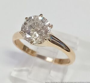 1.76ct Center Fiery Fine Diamond 18k Yellow Gold Solitaire Engagement Ring