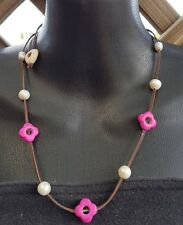 Kangaroo Leather Choker Necklace features Akoya Pearls and Pink Howlite Beads