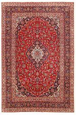 Kashann Rug Hand Knotted Wool Red Navy Ivory Oriental 8 x 12