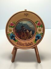 "Vintage Schloss Vaduz Wooden Souvenir Plate 6.25"""