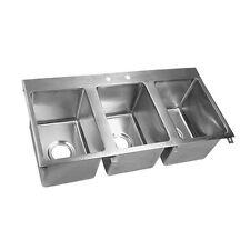 "John Boos Pb-Disink162012-3 Drop In Sink Three Compartment 16"" x 20"" x 12"""