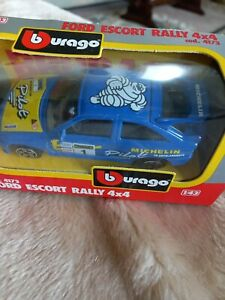 Burago 1:43 scale Ford Escort 4x4 Die cast model Blue.