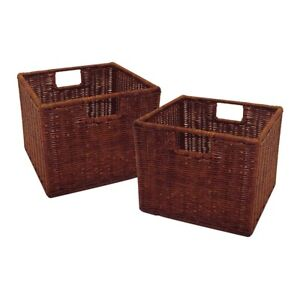 Winsome Leo Set of 2 Wired Small Basket, Antique Walnut - 92211
