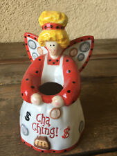"Cha Ching Ka Angel Bank Queen Red Wings Cherub White Still 6 3/4"" Pottery Blonde"