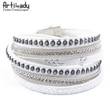 Fashion Women Men Leather Friendship Cuff Wrap Bangle Charm Multi-Layer Bracelet