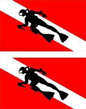 2x Sticker adesivi adesivo bandiera dive scuba diver diving immersioni tuffatore