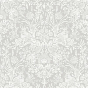 Pale Grey Harlen Wallpaper - Woodland - Shabby Chic - Holden Decor - 90160