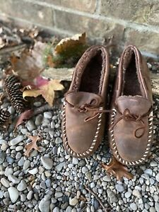 Cabelas Rustic Brown Leather Slippers Shearling Lined Moccasin Men's 8 M