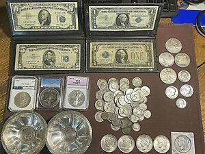 Huge Silver LOT of Various Coins ,Silver Cerif and RARE 1 of a kind Silver Bowls
