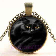 Vintage Black Cat Photo Cabochon Glass Bronze Chain Pendant Necklace#A19