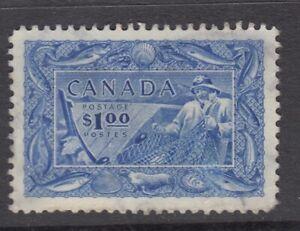 "# Canada Scott #302 $1.00 Fisherman ""Fishing Resources""  F *"