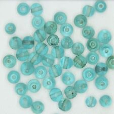 Glass Beads Pale Blue Transparent Round 6mm. Pack of 50. Made in India.