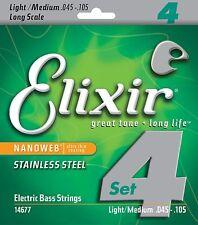 Elixir Nanoweb Light/Medium 4 String Electric Bass Strings 14677 1 Set .45-.105
