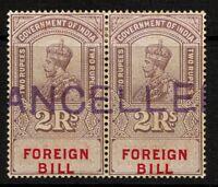 India 1923 2R Foreign Bill Specimen Pair MLH / Light Gum Toning - S1865