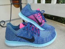 NIKE FREE RN FLYKNIT RUNNING SHOES SZ 11 PURPLE BLUE PINK TURQUOISE 831070 502