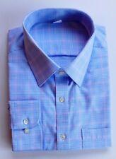 Ex M&S MENS REG FIT BLUE & PINK CHECK COTTON FORMAL SHIRT BNWOT 14.5-18.5 B29