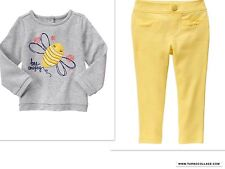 NEW Gymboree Wildflower Weekend Bee Amazing Shirt & Yellow Ponte Pants Outfit 2T