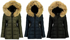 Stone Goose by Geographical Norway Damen Winter Jacke Parka Mantel Fell Kapuze