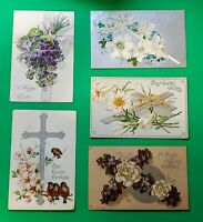 5 Antique Vintage Tuck's Postcards Religious EasterGreetings Cross Flowers Birds