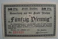 Notgeld Stadt ITZEHOE (SH/SH) 50 Pfg, 1918 Anweisung (1174)