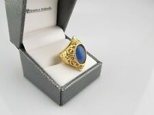 14K Blue Chalcedony RING Fancy Details sz 6 Italy Made Statement Ring