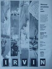 8/1961 PUB IRVIN IRVING AIR CHUTE BRAKE PARACHUTE MISSILE RECOVERY ORIGINAL AD