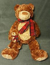 """Vtg Plush GUND Heads & Tales Brown 21"""" Teddy Bear w/ Scarf Holding Baby Bear"""