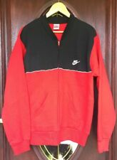 Vintage NIKE Warmup Red / Black Zipper 50/50% Sweatshirt. Size L Made In USA.