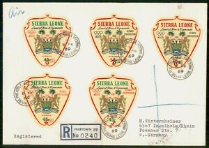Mayfairstamps Sierra Leone 1969 Olympiocs Die Cut Stamp Registered First Day Cov