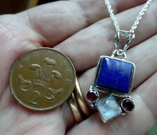 Deco Style Sterling Silver Lapis Lazuli Moonstone and Garnet Necklace