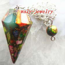 Q58200 Beautiful Carved Rainbow Sea Sediment Jasper&Pyrite Pendulum pendant bead
