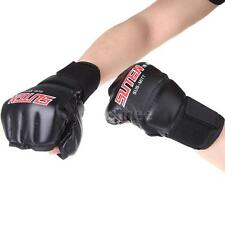 High Quality PU Leather Half Mitts MMA Muay Thai Training Boxing Gloves Red NC6E