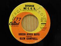 The Green River Boys wbw Glen Campbell 45 Divorce Me C. O. D.   Capitol VG+