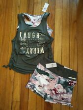 NWT Justice Girls Outfit Cinched 2Fer Top/Active Shorts Size 8 10
