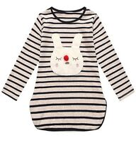 SALE! NWT Richie House Little Girls' Striped Tunic With Rabbit, Size 4-5