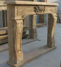 Hand Carved Marble Fireplace Mantel, Old World Finish, Simple French Style