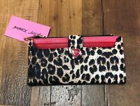 New Betsey Johnson  Leopard Wallet red heart multiple credit card slots pink red
