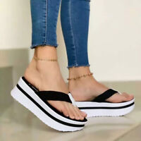 Women Fashion Platform Flip Flops Summer Casual Outdoor Beach Mid-heel Slippers